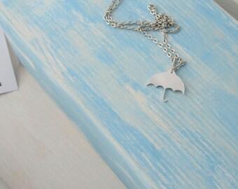 Hand cut aluminium Umbrella necklace