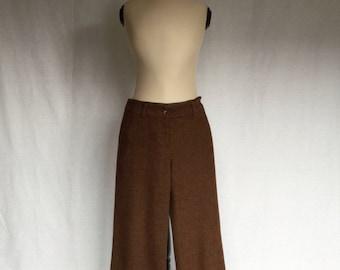 brown wide leg wool pants
