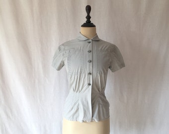 1950s grey cotton blouse