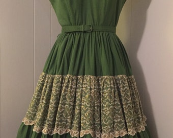 Vintage 1950s Mexican Western Squaw Dress in Green and Gold