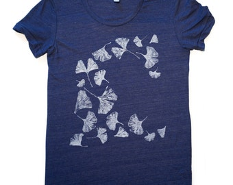 Gingko-T-Shirt-omens-American Apparel Swoop Neck Tee-This style runs small-ginko-gingko leaves