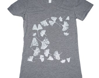 Gingko T-Shirt, Women's Bella Canvas Swoop Neck Tee-gingko-ginko-leaves-leaf-beautiful-coool, nature, illustration, artwork, hand printed,
