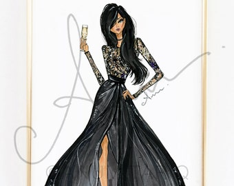 Fashion Illustration Print, Black Elie Saab