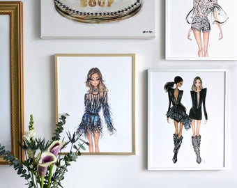"11x14"" Brass Frame with Fashion Illustration Print"