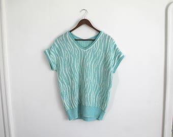 Vintage 80s aqua and white tiger stripe short sleeve sweater, M-L