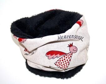 Dogs loop circle scarf black heart Angel