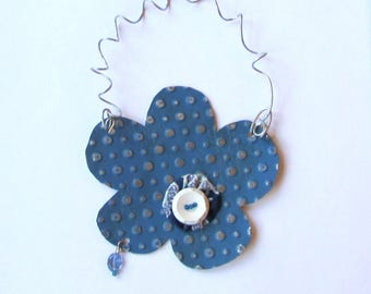 Blue Flower Ornament - Metal Flower Ornament - Flower Wall Decor - Flower Decoration - Recycled Metal Ornament - Eco Friendly Ornament
