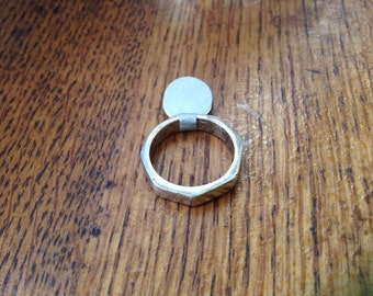 Plain Angled sterling ring , size 7.5