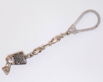 Vintage French sterling silver queen nefertiti keychain / nefertiti / Egyptian queen / amulet /  eternal life / key chain / Egyptian revival