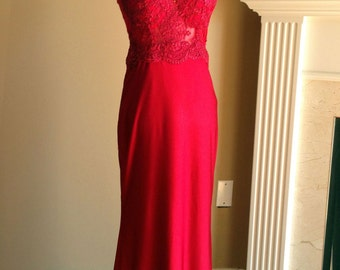 Red lace dress, lace bridesmaid dress, red bridesmaid dress, lace prom dress, red prom dress