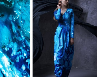 Ocean Dress, Plus Size Maxi Dress, Long Sleeve Dress, Blue Printed Dress, Women Dress, Extravagant Dress, Kaftan Dress, Women Winter Dress