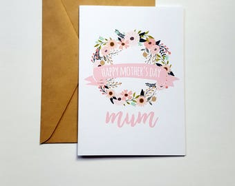 Happy Mother's Day Mum Card | Card for Mum | Floral Mother's Day Card | Spring Floral Wreath Card - AUSTRALIAN SELLER