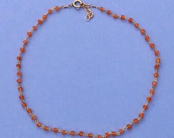Orange Carnellian Gemstone Choker, Carnelian Beaded Choker, Wrap Bracelet, Dark Orange/Gold Vermeil Gemstone Necklace, Burnt Orange, UT