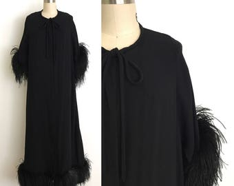 vintage 1950s robe | 50s  ostrich feather dressing gown