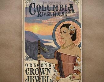 The Magnificent Columbia Gorge - Wood Print - Original Oregon Region Goddess River Crown Point Hiking Native Henna Travel Poster Art Nouveau