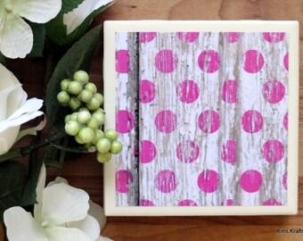 Coaster Set - Table Coasters - Pink Coasters - Coaster - Tile Coaster - Rustic Coaster - Coasters for Drinks - Coasters Tile