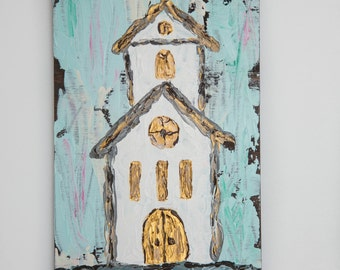 Church Painting on Wood, Textured Wooden Church Painting, Farmhouse Style Wall Decor, Rustic Wooden Church Acrylic Painting, Blue, Gold