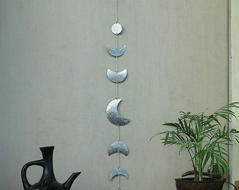 Moon Wall Decor Silver Moon Phases Wall Hanging - Moon Wall Art - Crescent Moon Mobile - Lunar - Moon Child - Boho Decor