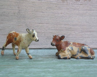 Vintage Miniature Lead Toy Farm Animal Calves, Britains Brown Cow, Calf