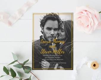 Photo Wedding Invitation Template, Art Deco Printable Photo Wedding Invitate, LDS Wedding Invitation, Editable PDF Templates, DIY You Print