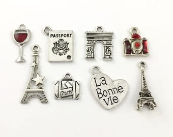 8 Paris charms collection antique silve17mm to 30mm#ENS A 221-1