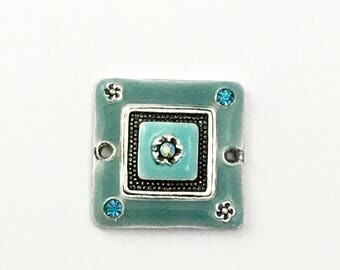 1  connector enamel and silver tone 20mm x 20mm  #CON096