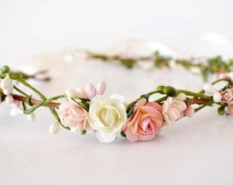 Flower crown. Pink, blush and cream flower crown. Wedding headpiece. Flower wedding crown. Bridesmaids crown. Boho wedding. Flowergirl crown