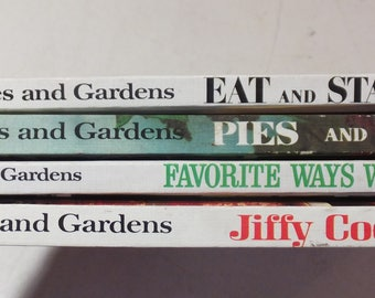 4 Better Homes and Gardens Cookbooks: Pies and Cakes, Favorite ways With Chicken, Eat and Stay Slim, Jiffy Cooking