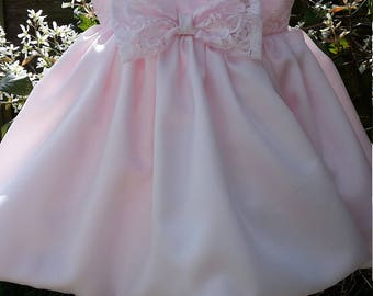 Soft Pink Satin Baby Dress