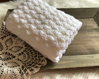 Crochet Baby Blanket - Toddler Throw - French Country Throw - Stroller Blanket - Soft Neutral Antique White Shade Shell Stitch