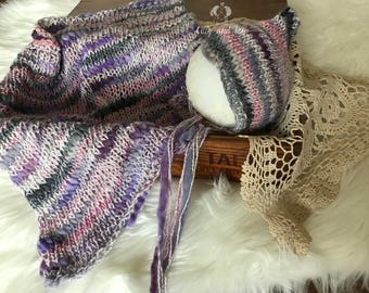 Baby Blanket Pixie Hat/Baby Photo Prop Set/Knit Baby Blanket Hat Set/Knit Blanket and Pixie Bonnet/Pixie Newborn Hat/Ombre Lilac