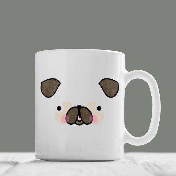 Pug face mug cute pug mug hand illustrated mug dog mug for Animal face mugs