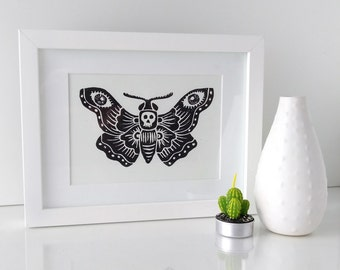 Framed lino print - Death's Head Moth, black and white, insect art