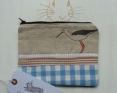 Handmade Makeup Bag Emily Bond Oyster Catcher Bird Nautical Cosmetic Pencil Case Pouch Padded Lined
