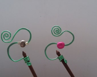 Wooden  hairstick with green aluminum wire handmade