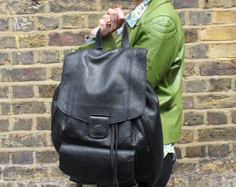 Cool Backpack Black Waxy Leather