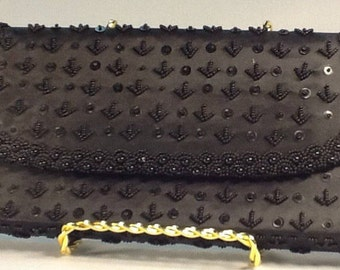 Clutch Black Bead and Sequin Evening Bag Silk With Hand Beaded Sequined Geometric Design 1950s Black Silk Clutch
