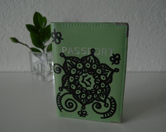 "Leather Passport Cover Travel Case ""Flower"" Artwork  