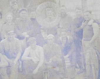 Original 1920's SS Lake Fontana, Wyandotte Garston Engineering Crew Real Photo Postcard Photograph - Free Shipping