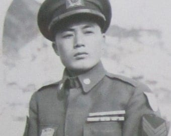WW II Era 1940's Handsome Japanese Soldier Was Soon A Man Photo Booth Photo - Free Shipping
