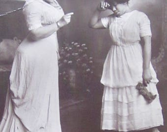 But Momma! - Original 1900's Young Wealthy Black Girl Gets Chastised By Mother Large Photo On Cardboard