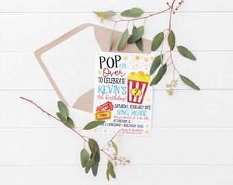 Printable Movie Night Kids Birthday Invitation