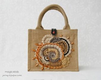 Unique jute tote with freeform crochet decorations,OOAK,burlap,handbag,summer,gift,purse,natural fibres,sustainable,bag