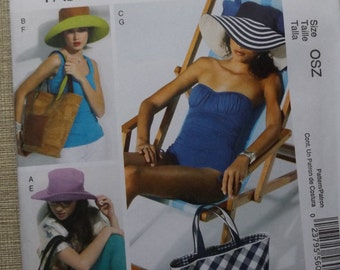 Hats in Four Sizes and Totes Complete Uncut/FF Pieces McCall's Sewing Pattern M6577 Fashion Accessories