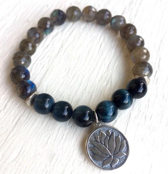 Sterling Silver Lotus Bracelet - Labradorite & Blue Tiger Eye Mala Bracelet - Yoga Jewelry - Unisex Bracelet - Third Eye Mala Beads