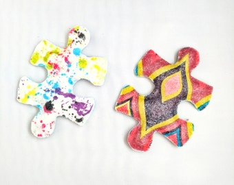 Puzzle Piece Cat Toys, Felt Cat Toys, Catnip, Valerian, Silver Vine, Kitten Play, Toys for Cats, Kitten Toys, Toys for Cats