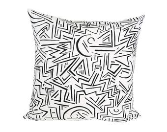 Lascaux Designer Pillow Cover in Black and White (Fabric by Alan Campbell for Quadrille)