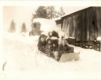 Vintage Photo ~ homemade Snow Sled ~ Winter Memories