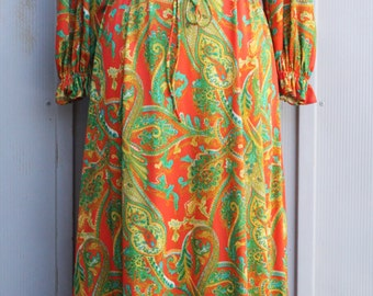 Vintage Gypsy Dress - Edwardian Inspired Bohemian Maxi Dress - Long Sleeve Hippie Dress - Boho Corset Dress - 70s Psychedelic Dress - 1970s