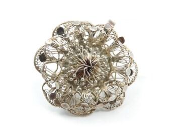 Vintage Filigree Flower Brooch, Pendant, Silver Tone